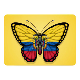 Ecuadorian Butterfly Flag on Yellow 5x7 Paper Invitation Card