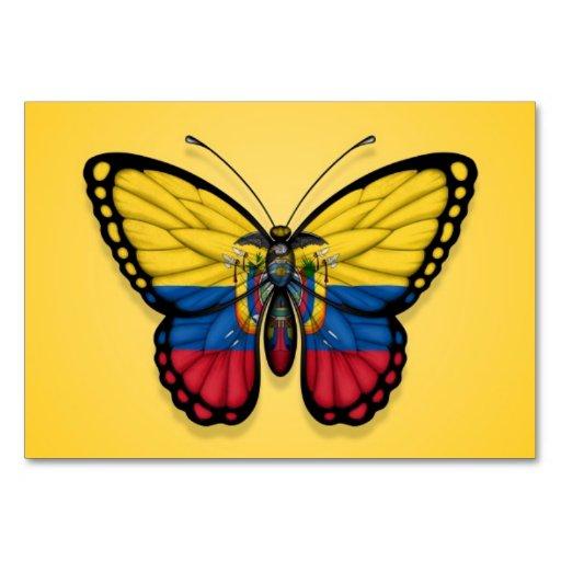 Ecuadorian Butterfly Flag on Yellow Table Card