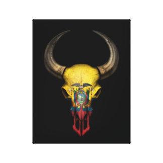 Ecuadorian Flag Bull Skull on Black Canvas Print