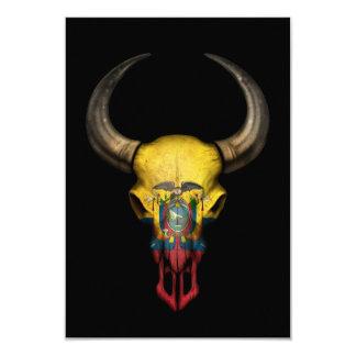 Ecuadorian Flag Bull Skull on Black 3.5x5 Paper Invitation Card