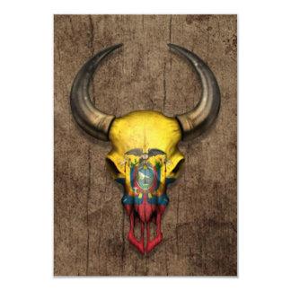 Ecuadorian Flag Bull Skull on Wood Effect 3.5x5 Paper Invitation Card