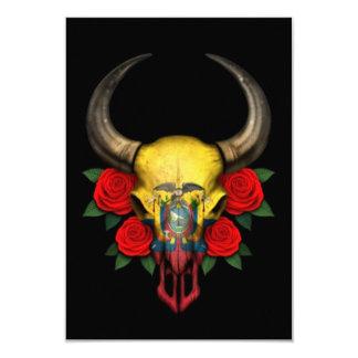 Ecuadorian Flag Bull Skull with Red Roses 3.5x5 Paper Invitation Card