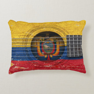 Ecuadorian Flag on Old Acoustic Guitar Accent Pillow