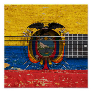 Ecuadorian Flag on Old Acoustic Guitar Poster