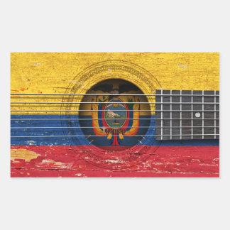 Ecuadorian Flag on Old Acoustic Guitar Rectangular Sticker