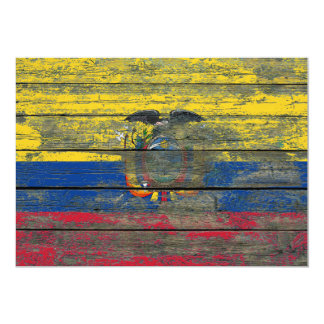 Ecuadorian Flag on Rough Wood Boards Effect 5x7 Paper Invitation Card
