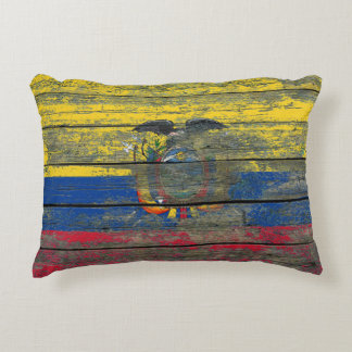 Ecuadorian Flag on Rough Wood Boards Effect Accent Pillow