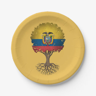 Ecuadorian Flag Tree of Life Customizable 7 Inch Paper Plate