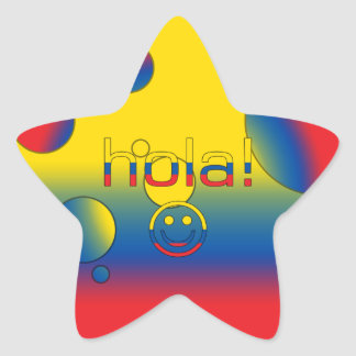 Ecuadorian Gifts : Hello / Hola + Smiley Face Star Sticker