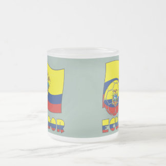 Ecuadorian Soccer Ball and Flag Frosted Glass Coffee Mug
