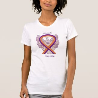 Eczema Awareness Ribbon Angel Art Shirts