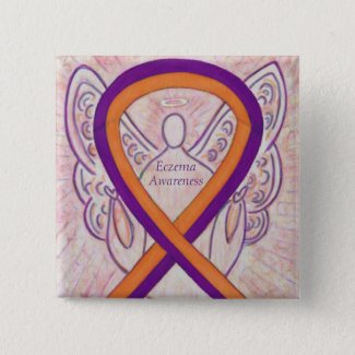 Eczema Awareness Ribbon Angel Custom Button Pin