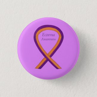 Eczema Awareness Ribbon Custom Art Pin Buttons