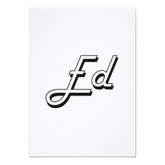 Ed Classic Retro Name Design 5x7 Paper Invitation Card