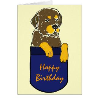 ED- Rottweiler in a Pocket Birthday Card