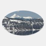 Ed Sutton - reflexión del lago Calcomania Óval Personalizadas