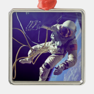 Ed White First American Spacewalker Photograph Square Metal Christmas Ornament