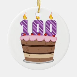 Edad 100 en la torta de cumpleaños ornamento para reyes magos