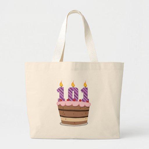 Edad 101 en la torta de cumpleaños bolsa tela grande