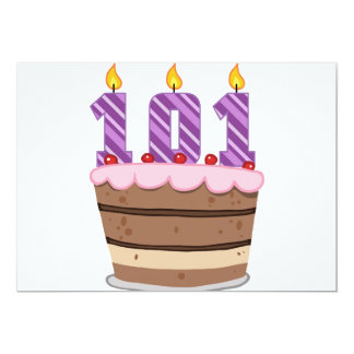 """Edad 101 en la torta de cumpleaños invitación 5"""" x 7"""""""