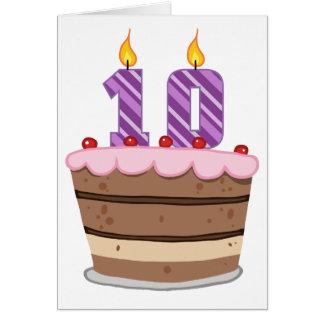 Edad 10 en la torta de cumpleaños tarjeta de felicitación