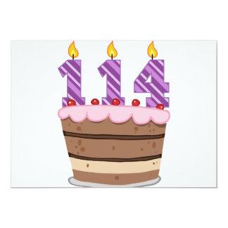 Edad 114 en la torta de cumpleaños invitaciones personales