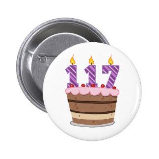 Edad 117 en la torta de cumpleaños pins