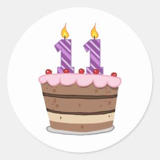 Edad 11 en la torta de cumpleaños pegatina redonda