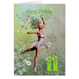 Edad 11, tarjeta de cumpleaños de hadas de la flor
