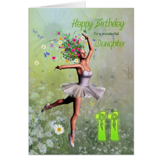 Edad 11, tarjeta de la hija de cumpleaños de hadas