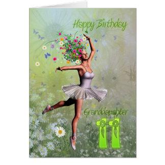 Edad 11, tarjeta de la nieta de cumpleaños de