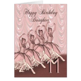 Edad 11, una tarjeta de la hija de cumpleaños de l