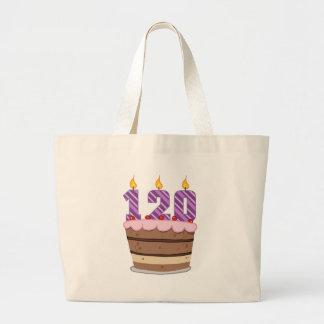 Edad 120 en la torta de cumpleaños bolsas de mano