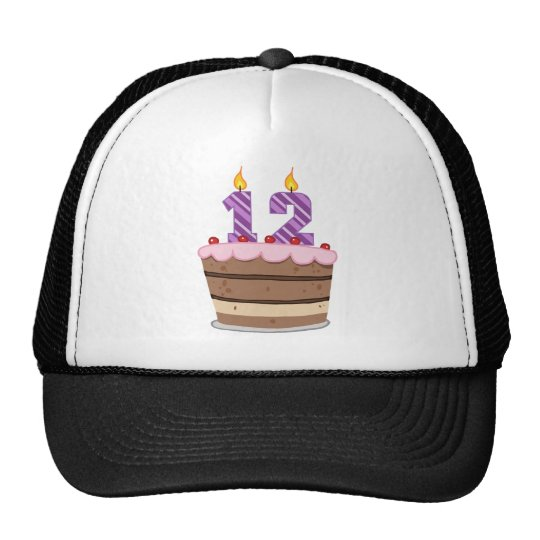 Edad 12 en la torta de cumpleaños gorro