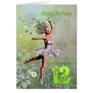 Edad 12, tarjeta de la nieta de cumpleaños de hada