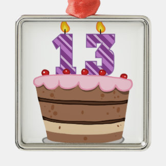 Edad 13 en la torta de cumpleaños ornamento de navidad