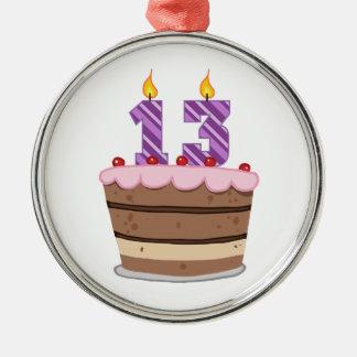 Edad 13 en la torta de cumpleaños ornamentos de navidad