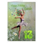 Edad 13, tarjeta del primo de cumpleaños de hadas