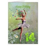 Edad 14, tarjeta de cumpleaños de hadas de la flor