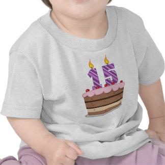 Edad 15 en la torta de cumpleaños camisetas