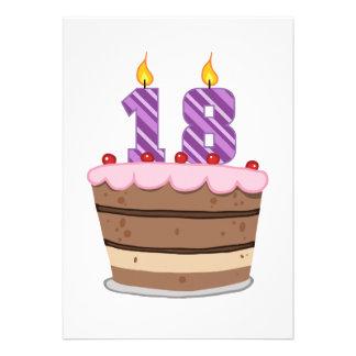 Edad 18 en la torta de cumpleaños invitaciones personales
