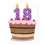 Edad 18 en la torta de cumpleaños postales