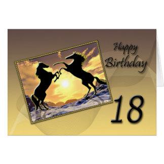 Edad 18 tarjeta de cumpleaños con alzar caballos
