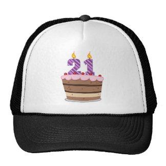 Edad 21 en la torta de cumpleaños gorras