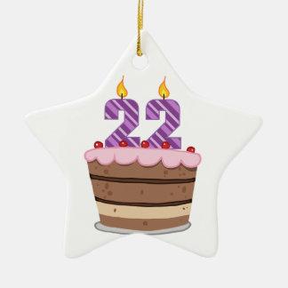 Edad 22 en la torta de cumpleaños adorno navideño de cerámica en forma de estrella