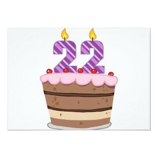 """Edad 22 en la torta de cumpleaños invitación 5"""" x 7"""""""