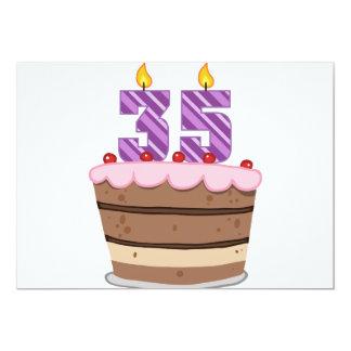 """Edad 35 en la torta de cumpleaños invitación 5"""" x 7"""""""