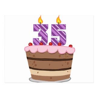 Edad 35 en la torta de cumpleaños postal
