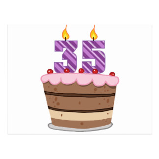 Edad 35 en la torta de cumpleaños postales