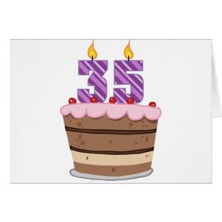 Edad 35 en la torta de cumpleaños tarjeta de felicitación